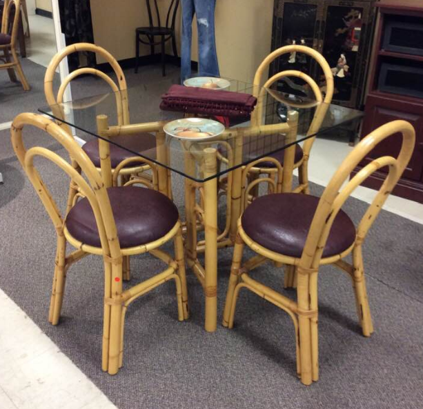 PIER ONE Rattan Glass Top Table & 4 Chairs, 3335-14